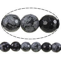 Natural Snowflake Obsidian Beads, Round, faceted, 8mm, Hole:Approx 1mm, Length:Approx 15 Inch, 10Strands/Lot, Approx 46PCs/Strand, Sold By Lot