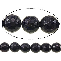 Blue Goldstone Beads, Round, faceted, 16mm, Hole:Approx 1.2-1.4mm, Length:Approx 15 Inch, 3Strands/Lot, Approx 25PCs/Strand, Sold By Lot