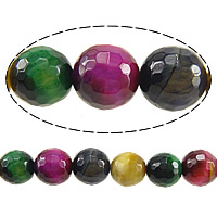 Natural Tiger Eye Beads, Round, faceted, mixed colors, 8mm, Hole:Approx 1mm, Length:Approx 15 Inch, 3Strands/Lot, Approx 46PCs/Strand, Sold By Lot