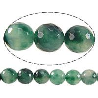 Luonnollinen Moss akaatti helmet, Pyöreä, kasvot, 8mm, Reikä:N. 1mm, Pituus:N. 15 tuuma, 10säikeet/erä, N. 50PC/Strand, Myymät erä