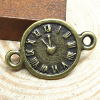 Zinc Alloy Connector, Clock, antique bronze color plated, 1/1 loop, nickel, lead & cadmium free, 22x14mm, Hole:Approx 1.5-2mm, 4Bags/Lot, 100PCs/Bag, Sold By Lot