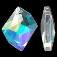 Zawieszki kryształowe, Kryształ, Bryłki, Platerowane kolorem, fasetowany, 20x16x4mm, otwór:około 1.5mm, 10komputery/torba, sprzedane przez torba