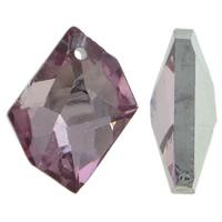 Zawieszki kryształowe, Kryształ, Bryłki, Platerowane w kolorze srebra, fasetowany, jasnoametystowy, 20x16x4mm, otwór:około 1.5mm, 10komputery/torba, sprzedane przez torba
