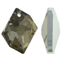 Crystal Pendants, Nuggets, silver color plated, faceted, Lt Mocca, 20x16x4mm, Hole:Approx 1.5mm, 10PCs/Bag, Sold By Bag