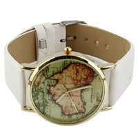 Unisex Wrist Watch, PU, with zinc alloy dial, plated, white, nickel, lead & cadmium free, 35mm, Length:Approx 9.4 Inch, 10Strands/Lot, Sold By Lot