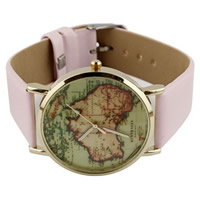 Unisex Wrist Watch, PU, with zinc alloy dial, plated, pink, nickel, lead & cadmium free, 35mm, Length:Approx 9.4 Inch, 10Strands/Lot, Sold By Lot