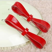 Hair Clip, Acrylic, with Iron, Bowknot, solid color, red, 70x15mm, 12PCs/Bag, Sold By Bag