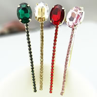 Hair Slide, Iron, with Glass, gold color plated, with rhinestone, mixed colors, nickel, lead & cadmium free, 85x13mm, 12PCs/Bag, Sold By Bag