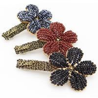 Hair Barrettes, Zinc Alloy, with Nylon Cord & Crystal & Iron, Flower, plated, mixed colors, nickel, lead & cadmium free, 30-40mm, 5PCs/Bag, Sold By Bag