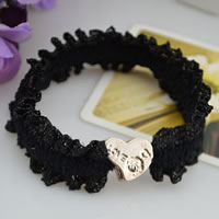 Hair Elastic, Lace, with Zinc Alloy, Heart, gold color plated, black, 55mm, 100PCs/Bag, Sold By Bag