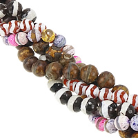 Natural Tibetan Agate Dzi Beads, Round, faceted, mixed colors, 12mm, Hole:Approx 1-1.5mm, Length:Approx 15 Inch, 10Strands/Lot, Approx 31PCs/Strand, Sold By Lot