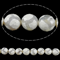 Natural Tibetan Agate Dzi Beads, Round, faceted, white, 10mm, Hole:Approx 1mm, Length:Approx 15 Inch, 10Strands/Lot, Approx 38PCs/Strand, Sold By Lot