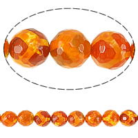 Natural Tibetan Agate Dzi Beads, Round, faceted, orange, 12mm, Hole:Approx 1mm, Length:Approx 15 Inch, 10Strands/Lot, Approx 31PCs/Strand, Sold By Lot