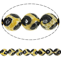 Natural Tibetan Agate Dzi Beads, Round, faceted, 12mm, Hole:Approx 1mm, Length:Approx 14.5 Inch, 10Strands/Lot, Approx 30PCs/Strand, Sold By Lot