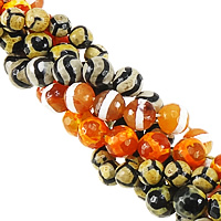 Natural Tibetan Agate Dzi Beads, Round, faceted & mixed, 12mm, Hole:Approx 1mm, Length:Approx 14 Inch, 10Strands/Lot, Approx 30PCs/Strand, Sold By Lot