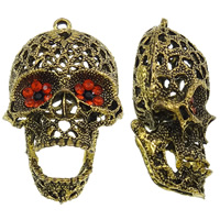 Zinc Alloy Skull Pendants, antique gold color plated, with rhinestone & hollow, lead & cadmium free, 38x62x26mm, Hole:Approx 3mm, 10PCs/Bag, Sold By Bag
