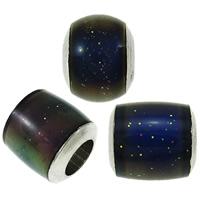 Бусы Эмаль настроения, Латунь, Платиновое покрытие платиновым цвет, настроение эмаль, не содержит никель, свинец, 5.5x6mm-7.5x8mm, отверстие:Приблизительно 3-4mm, 100ПК/сумка, продается сумка