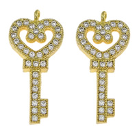 Cubic Zirconia Micro Pave Brass Pendant, Key, gold color plated, micro pave cubic zirconia, nickel, lead & cadmium free, 10.50x22x2mm, Hole:Approx 1.5mm, 20PCs/Lot, Sold By Lot