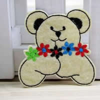 Iron on Patches, Cloth, Bear, white, 55x55mm, 50PCs/Lot, Sold By Lot
