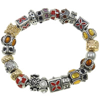 Zinc Alloy European Bracelet, with Glass, plated, beaded bracelet & enamel & with rhinestone, nickel, lead & cadmium free, 9.5-14mm, Sold Per Approx 7.5 Inch Strand