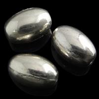 Messing kralen, Ovaal, silver plated, nikkel, lood en cadmium vrij, 6x9mm, Gat:Ca 1mm, 10pC's/Bag, Verkocht door Bag