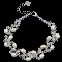 Freshwater Cultured Pearl Bracelet, Crystal, with Freshwater Pearl, iron lobster clasp, 5-6mm, Sold Per 7.5 Inch Strand