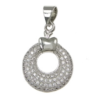 Cubic Zirconia Micro Pave Brass Pendant, Donut, platinum plated, micro pave 45 pcs cubic zirconia, nickel, lead & cadmium free, 14x19.50x2.80mm, Hole:Approx 3x4mm, 10PCs/Lot, Sold By Lot