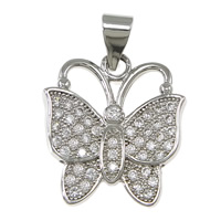 Cubic Zirconia Micro Pave Brass Pendant, Butterfly, platinum plated, micro pave 46 pcs cubic zirconia, nickel, lead & cadmium free, 15.50x18x1.80mm, Hole:Approx 3x4mm, 10PCs/Lot, Sold By Lot