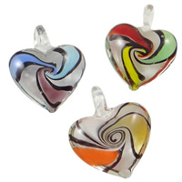 Fashion Lampwork Pendants, Heart, handmade, mixed colors, 36x41x14mm, Hole:Approx 7x8mm, 12PCs/Box, Sold By Box