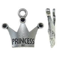 Zinc Alloy Pendant Rhinestone Setting Crown word princess antique silver color plated nickel lead   cadmium free 18.50x17x3.50mm Hole:Approx 2mm Approx 1420PCs/KG