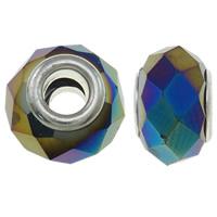 European kristalli helmiä, Rondelli, värikäs päällystetty, messinki Kaksoisjohdin ilman peikko & kasvot & jäljitelmä CRYSTALLIZED™n, 9x14mm, Reikä:N. 5mm, 50PC/laukku, Myymät laukku