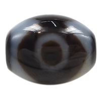 Natural Tibetan Agate Dzi Beads, Oval, three-eyed & two tone, 14.50x13x3mm, Hole:Approx 2mm, 5PCs/Lot, Sold By Lot