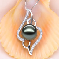 Tahitian Pearls Pendant, with 925 Sterling Silver, natural, with cubic zirconia, malachite green, 10-11mm, 31x20mm, Hole:Approx 4x10mm, Sold By PC