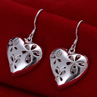Brass Drop Earring, Heart, real silver plated, hollow, nickel, lead & cadmium free, 35x20mm, 10Pairs/Lot, Sold By Lot