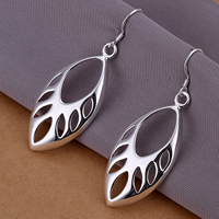 Brass Drop Earring, Horse Eye, real silver plated, hollow, nickel, lead & cadmium free, 54x19mm, 20Pairs/Lot, Sold By Lot