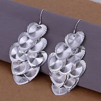 Brass Drop Earring, real silver plated, flower cut, nickel, lead & cadmium free, 67x32mm, 10Pairs/Lot, Sold By Lot