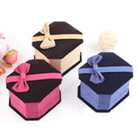 PC Plastic Single Ring Box, with Satin Ribbon & Velveteen, more colors for choice, 65x58x45mm, 25PCs/Lot, Sold By Lot
