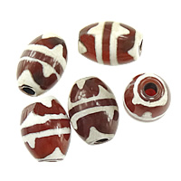 Natural Tibetan Agate Dzi Beads, Oval, four strip tiger teeth & two tone, mixed colors, 14x10x10mm, Hole:Approx 2mm, 100PCs/Lot, Sold By Lot