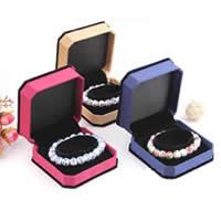Velveteen Bracelet Box, PC Plastic, with Satin Ribbon & Velveteen, more colors for choice, 95x95x45mm, 10PCs/Lot, Sold By Lot