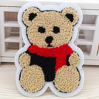 Iron on Patches, Cloth, with Velveteen, Bear, brown, 80x110mm, 100PCs/Lot, Sold By Lot