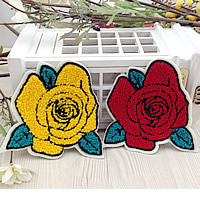 Iron on Patches, Cloth, with Velveteen, Flower, mixed colors, 110x120mm, 100PCs/Lot, Sold By Lot