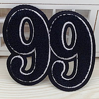 Iron on Patches, Cloth, with Velveteen, Number, dark blue, 110x96mm, 50PCs/Lot, Sold By Lot