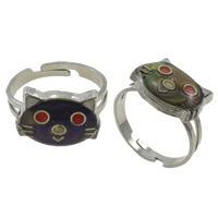 кольцо с эмалью настроения , Латунь, с Железо, Кошка, Платиновое покрытие платиновым цвет, регулируемый & настроение эмаль, не содержит никель, свинец, 15x11x4mm, отверстие:Приблизительно 1.5mm, размер:6.5, 100ПК/Box, продается Box