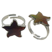 кольцо с эмалью настроения , Латунь, с Железо, Морская звезда, Платиновое покрытие платиновым цвет, регулируемый & настроение эмаль, не содержит никель, свинец, 18x18x2mm, отверстие:Приблизительно 1.5mm, размер:7.5, 100ПК/Box, продается Box