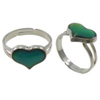 кольцо с эмалью настроения , Латунь, с Железо, Сердце, Платиновое покрытие платиновым цвет, регулируемый & настроение эмаль, не содержит никель, свинец, 13x10x2mm, отверстие:Приблизительно 1.5mm, размер:6.5, 100ПК/Box, продается Box
