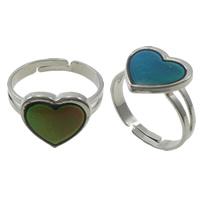 кольцо с эмалью настроения , Латунь, с Железо, Сердце, Платиновое покрытие платиновым цвет, регулируемый & настроение эмаль, не содержит никель, свинец, 13x13x2mm, отверстие:Приблизительно 1.5mm, размер:7.5, 100ПК/Box, продается Box
