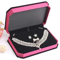 Velveteen Jewelry Set Box, Plastic, finger ring & earring & necklace, with Velveteen, Rectangle, with ribbon bowknot decoration, claret, 13x18x4cm,11.3x17.5x3cm, 5PCs/Lot, Sold By Lot
