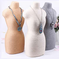 Linen Necklace Display, PVC Plastic, with Linen, Bust, more colors for choice, 400x190mm, 2PCs/Lot, Sold By Lot