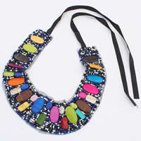 Acrylic Necklace, with Satin Ribbon & Glass Seed Bead, multi-colored, 40-110mm, Length:15-21 Inch, 10Strands/Bag, Sold By Bag