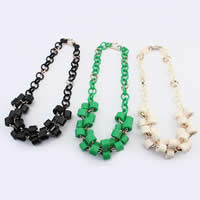 Iron Necklaces, with Resin, Column, platinum color plated, mixed colors, 5-20mm, Length:15-21 Inch, 10Strands/Bag, Sold By Bag